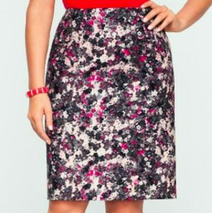 Talbots floral watercolor print pencil skirt sz 4P